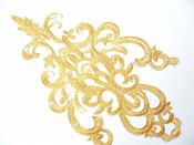 "Gold Embroidered Applique Metallic Designer Scroll Motif 10"" GB681"