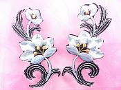 "Gray Embroidered Appliques Floral Mirror Pairs 3.75"" GB696X"
