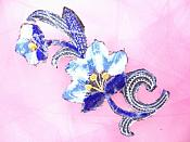 """Blue Embroidered Appliques Floral Mirror Pairs 3.75"""" GB696X"""