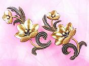 """Brown Embroidered Appliques Floral Mirror Pairs 3.75"""" GB696X"""