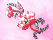 """Red Pink Embroidered Appliques Floral Mirror Pairs 3.75"""" GB696X"""