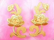 "Gold Embroidered Appliques Floral Mirror Pairs 3.75"" GB696X"