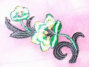 """Green Embroidered Appliques Floral Mirror Pairs 3.75"""" GB696X"""