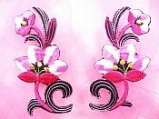 "Hot Pink Embroidered Appliques Floral Mirror Pairs 3.75"" GB696X"