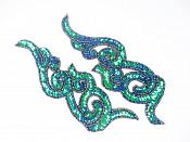 "Peacock Sequin Appliques Beaded Scroll Mirror Pair Patch Iron on 7"" JB233X"