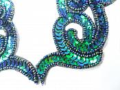 """Peacock Sequin Appliques Beaded Scroll Mirror Pair Patch Iron on 7"""" JB233X"""