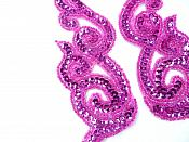 """Sequin Appliques Beaded Scroll Mirror Pair Patch Iron on 7"""" JB233X"""