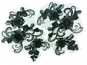 "3D Appliques Embroidered Lace Mirror Pairs Black Scrolling Floral Vine Patch 9"" DH125X"