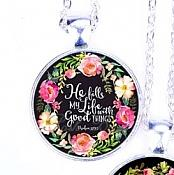 Scripture Necklace He Fills My Life With Good Things Pendant Inspirational Christian Jewelry w/ Silver Chain JW134