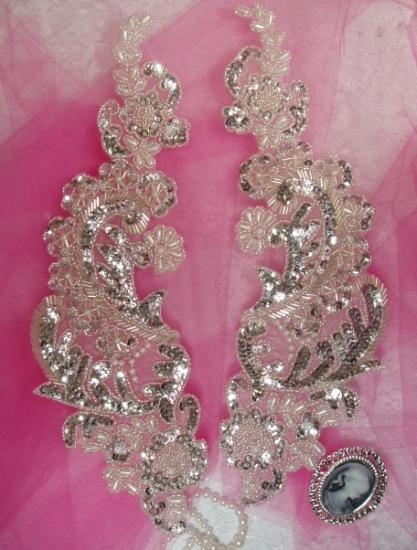 """0049 Silver Paris Mirror Pair 13"""" Sequin Beaded Appliques"""