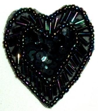 "LC311  Black AB Heart Sequin Beaded Applique  1.75"""