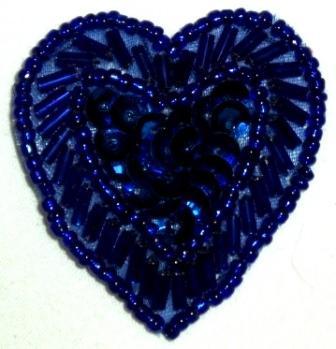 "LC311  Blue Heart Sequin Beaded Applique  1.75"""