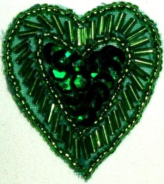 "LC311  Green Heart Sequin Beaded Applique  1.75"""