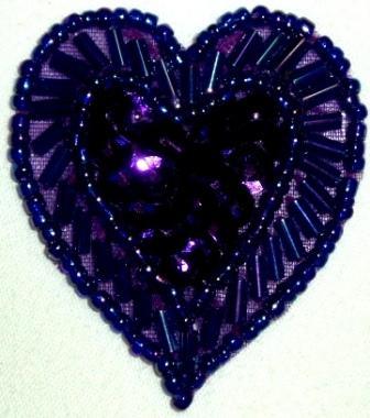"""LC311  Purple Heart Sequin Beaded Applique  1.75"""""""
