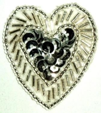"""LC311  Silver Heart Sequin Beaded Applique  1.75"""""""