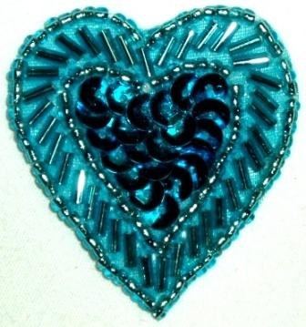 """LC311  Turquoise Heart Sequin Beaded Applique  1.75"""""""