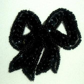 "LC359  Black Bow Sequin Beaded Applique  2.25"""