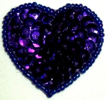 """LC364  Purple Heart Sequin Beaded Applique  1.5"""""""