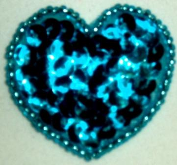 """LC364  Turquoise Heart Sequin Beaded Applique  1.5"""""""