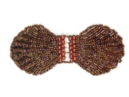 "0434  Chocolate Brown Rhinestone Bow Beaded Applique 4.5"""