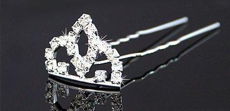 GB73 Silver Crown Rhinestone Crystal Hair pin
