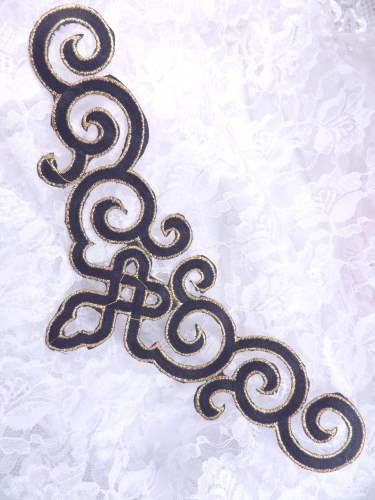 DE3 Iron On Black Gold Metallic Scroll Collar Embroidered Applique 9.5""