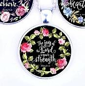 Scripture Necklace The Joy Of The Lord Is Your Strength Pendant Inspirational Christian Jewelry w/ Silver Chain JW127