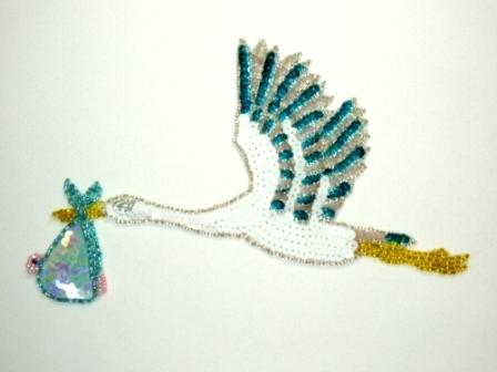 """E052 Blue Flying Stork Sequin Beaded Applique 8"""""""