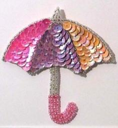 E1023D Pastel Umbrella Beaded Sequin Applique 3.75""
