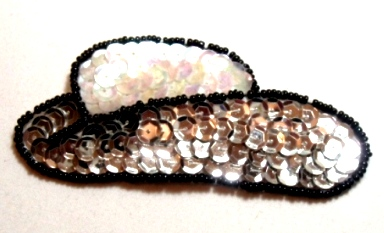 EB12  Silver Cowboy Hat Sequin Beaded Applique 3.5""