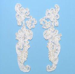 """E3704 Ivory Floral Venise Lace Mirror Pair Pearl Appliques 9.25"""""""
