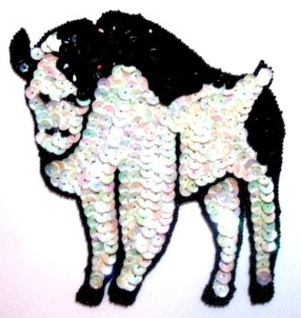 E414 Buffalo Bull Sequin Beaded Applique 5.25""