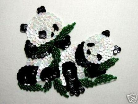 "K9305  Panda Bear Sequin Beaded Applique 4.5"""