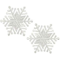 E5013 Set of 2  Embroidered Silver Snowflake Applique 1.5""