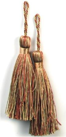 """E5524  Set of Two Brown and Sage Mix Tassels 3.75"""""""