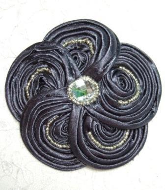 """E5984  Gray Victorian Silky Ribbon Flower Brooch 3.5"""""""
