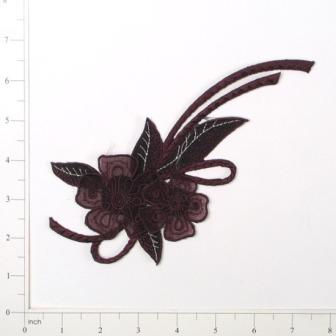 E644  Brown Floral Motif Iron On Applique 8""