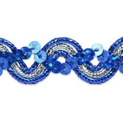 RME6962-15 REMNANT Blue Silver Metallic Braid Sequin Sewing Craft Trim 5/8""