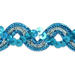 E6962 Turquoise Silver Metallic Braid Sequin Sewing Craft Trim 5/8""
