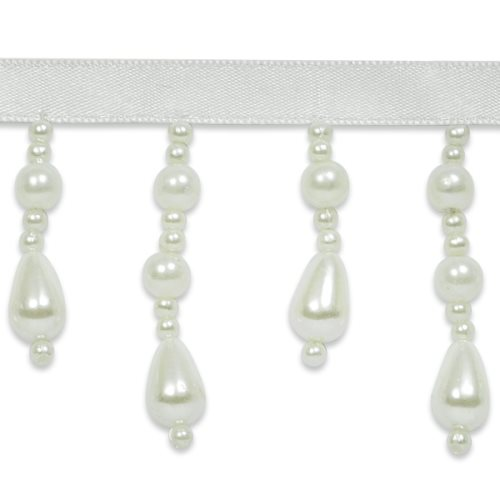 E7093 Elegant Teardrop Ivory Pearl Beaded Dangle Fringe Trim