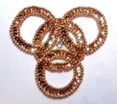 """E833  Gold Wedding Rings Sequin Beaded Applique 4.25"""""""