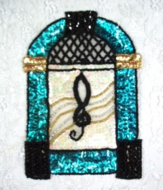 EA23ABC  Turquoise JukeBox Sequin Beaded Applique 6.5""