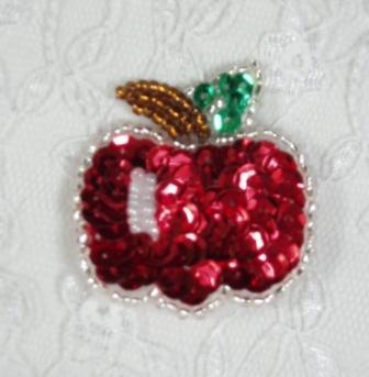 "EA33  Apple Pin Sequin Beaded Applique 1.75"""