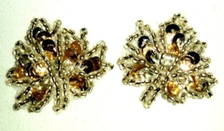 """EB17  Set of ( 2 ) Silver  Gold Leaves Sequin Beaded Appliques 1"""""""