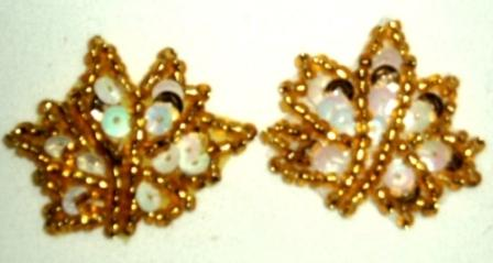 """EB19  Set of ( 2 )   Gold White AB Leaves Sequin Beaded Appliques 1"""""""
