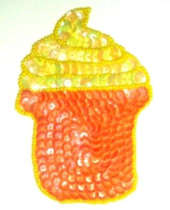 """EB2  Cup Cake Sequin Beaded Applique 4"""""""