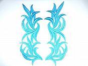 """Turquoise Embroidered Appliques Costume Designer Mirror Pairs 11.25"""" GB691X"""