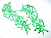 "Green Embroidered Appliques Costume Designer Mirror Pairs 11.25"" GB691X"