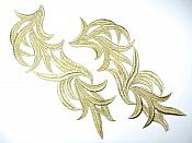 "Gold Embroidered Appliques Costume Designer Mirror Pairs 11.25"" GB691X"