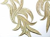 "Gold Embroidered Appliques Costume Designer Mirror Pairs 11.25"" GB691X"